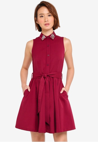 ZALORA red Embellished Collar Dress A9C12AA002852AGS_1