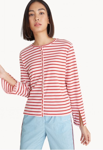 Pomelo pink Striped Slit Sleeve Blouse 0F704AA573E3E7GS_1