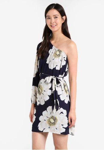 WAREHOUSE blue Melody One Shoulder Dress WA653AA53KAOMY_1