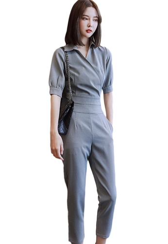Sunnydaysweety grey Casual Lapel Cropped Top with High Waist Pants Set A21022241 6DF37AA936F41AGS_1