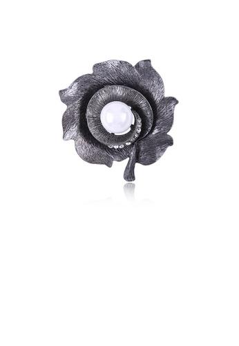 Glamorousky white Elegant Vintage Flower Imitation Pearl Brooch with Cubic Zirconia 14553ACEBC5DD7GS_1