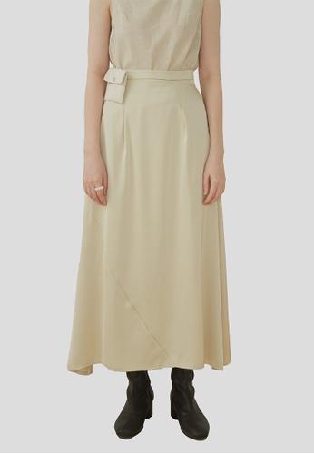 We Enjoy Simplicity beige Rene Satin Long Skirt w/ Pouch (Nude Beige) 69CF5AA61F487EGS_1