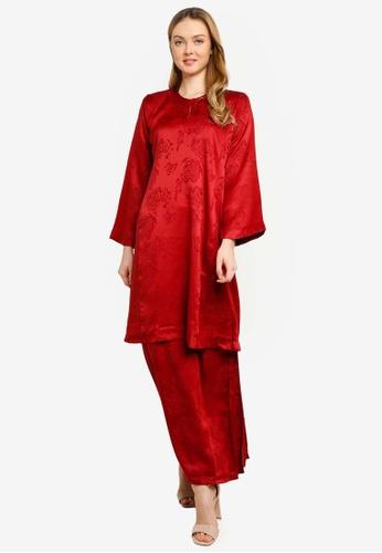 Baju Kurung Pahang Asyura from Butik Sireh Pinang in Red