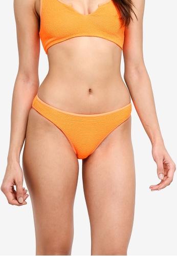 TOPSHOP orange Neon Orange Crinkle High Leg Bikini Bottoms 2B9C2USA8FA69EGS_1