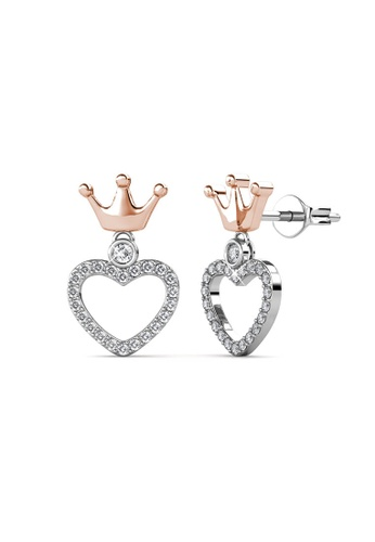 Her Jewellery silver and gold Princess Crown Earrings (Dual Tone) - Made with premium grade crystals from Austria 68959ACF8DCBB9GS_1