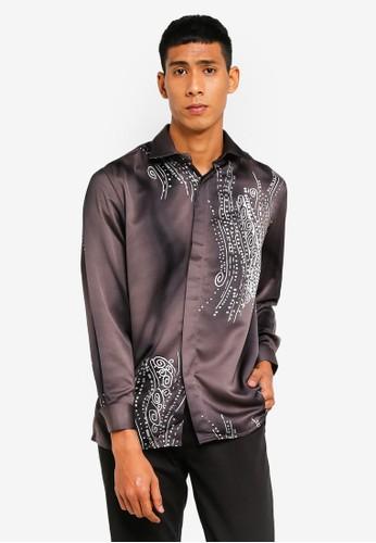 Gene Martino black Men Batik Shirt F853BAAC4E6770GS_1