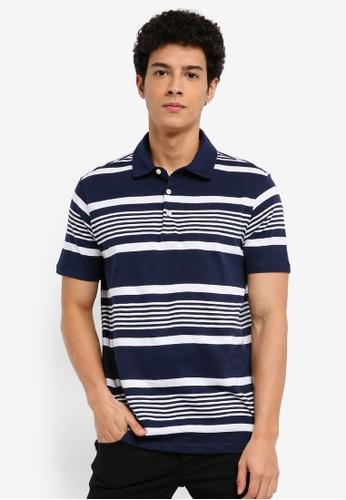 MANGO Man 藍色 短袖條紋POLO衫 806DAAA525FDA4GS_1