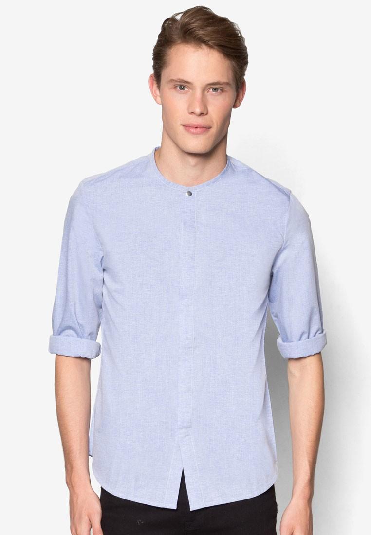 Yarn Print Mandarin Collar Long Sleeve Shirt