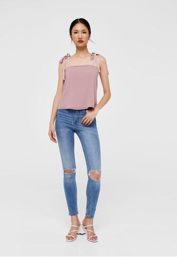 Love, Bonito pink Leila Ribbon Tie Camisole Top 6DAD6AA5E5E8EBGS_1