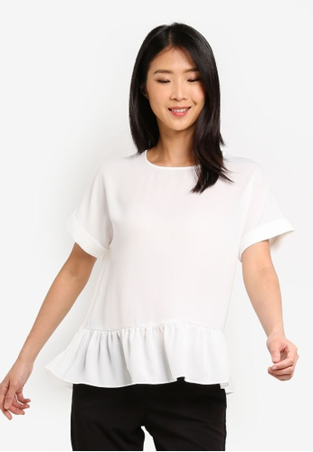 ZALORA BASICS white Basic Crew Neck Top With Ruffles Hem F9134AAE3C6551GS_1