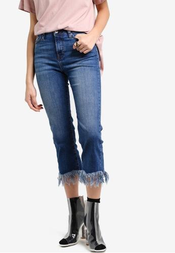 TOPSHOP blue Moto Fringe Hem Dree Cropped Jeans TO412AA32NFFMY_1