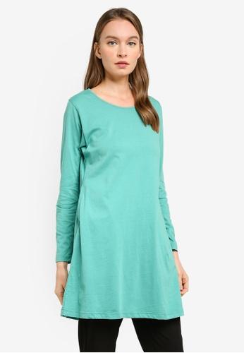 Aqeela Muslimah Wear green Basic Flare Hem Top FA988AAB995EB6GS_1