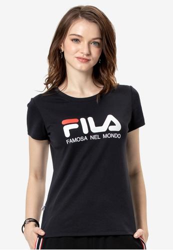 FILA navy Logo Cotton Tee 46D9AAA85C6BE3GS_1
