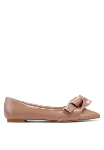 ZALORA 褐色 蝴蝶結尖頭平底鞋 70C4ASHCDA3BB0GS_1
