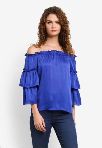 Dorothy Perkins blue Cobalt Yoryu Bardot Top DO816AA0RMXYMY_1