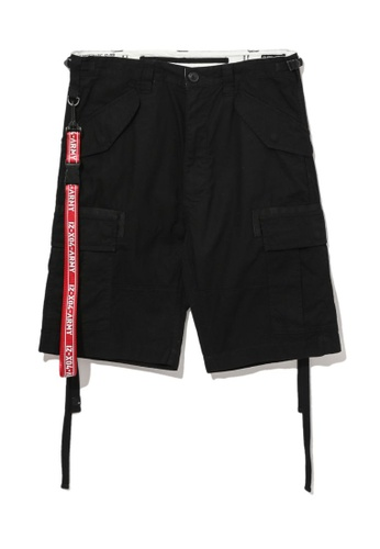 izzue black Army canvas strap cargo shorts BE370AA9DBBCACGS_1