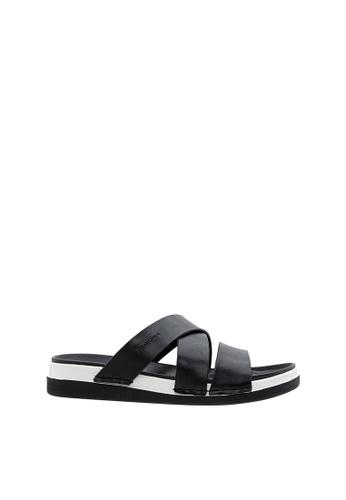 SEMBONIA black SEMBONIA Men Calf Leather Sandal (Black) 21B0DSHF37E89BGS_1