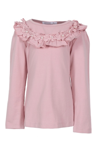 Adkidz pink Adkidz Pink Top with Flowers and Pearls ED631KA6D940E1GS_1