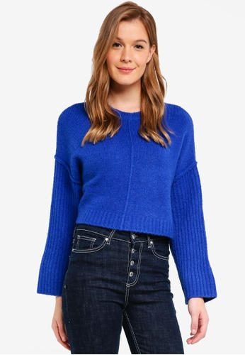 Cotton On blue Whimsy Wide Sleeve Cropped Pullover 0D08BAAA9F026EGS_1