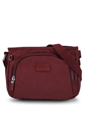 Bagstationz red Crinkled Nylon Sling Bag 7D4FEAC75CF6BFGS_1