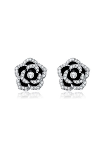 Kings Collection silver White Gold Black Rose Earrings C992DAC12ED225GS_1