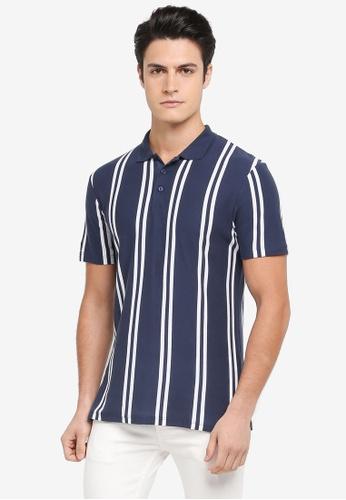 Topman navy Stripe Pique Polo Shirt 7F4B8AAC473EE3GS_1