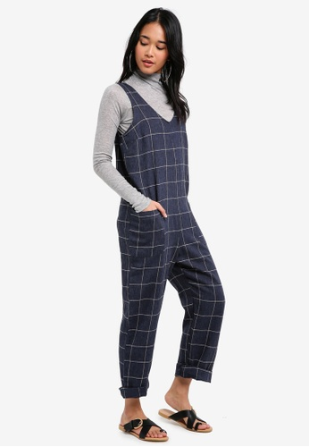 TOPSHOP navy Window Checkered Slouch Jumpsuit 5E159AA9BA9DECGS_1