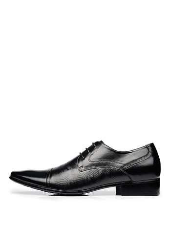 頭esprit 京站層牛皮。波浪壓紋。方頭德比鞋-04578-黑色, 鞋, 皮鞋