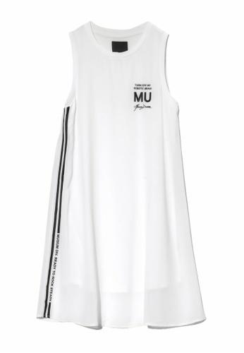 MUSIUM DIV white Side stripe logo printed sleeveless dress E1853AABA52A1CGS_1