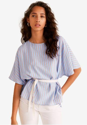 Mango blue Striped Bow Blouse AD905AA199C5C5GS_1