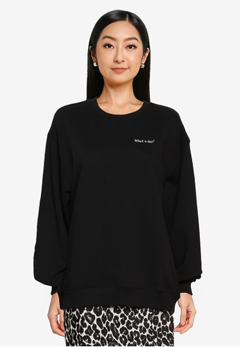 Heather black Message Print Sweatshirt F18C7AA8666FC7GS_1