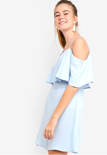 Something Borrowed blue Double Layered Fit And Flare Dress DDD05AA142EB8AGS_1