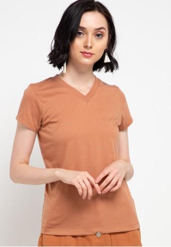 Tolliver brown V Neck Basic Short Sleeve Tee 534AAAA2AE50CCGS_1