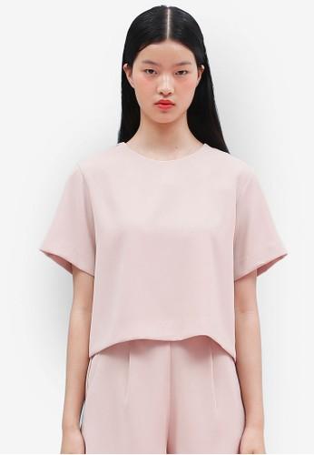 韓式風格背面繫帶短袖上衣, 服飾,esprit holdings limited 上衣