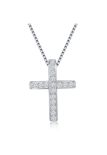 MaBelle silver 18K 750 White Gold Diamond Cross Pendant with 925 Sterling Silver Necklace Chain 80BF0AC86162CAGS_1
