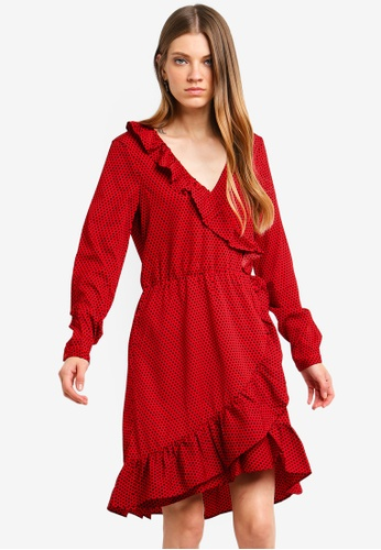 Brave Soul red Long Sleeve Wrap Dress With Ruffle Detail BD82BAAB757844GS_1