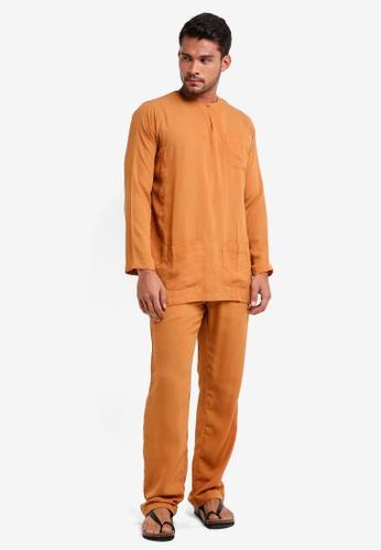 Lubna orange Baju Melayu Teluk Belanga B55B7AABCE6DD3GS_1