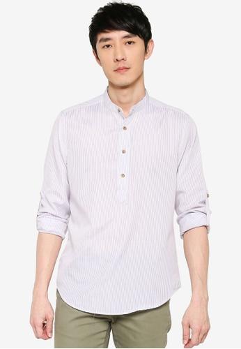 ZALORA BASICS white Oxford Half Placket Shirt C91C5AACA94F4DGS_1