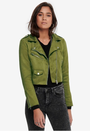 ONLY 綠色 Sherry 短版Bonded 夾克 59159AA4F162F6GS_1