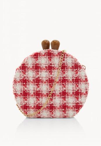 Pomelo red Plaid Kiss Lock Cross Body Bag - Red ED0A3ACB01AAD4GS_1