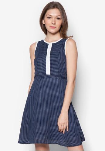 Milly 條紋無esprit台灣outlet袖連身裙, 服飾, 服飾