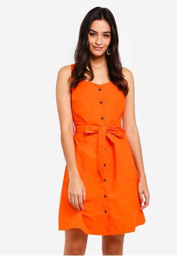 WAREHOUSE orange Cotton Button Mini Dress B444AAA3EA1163GS_1