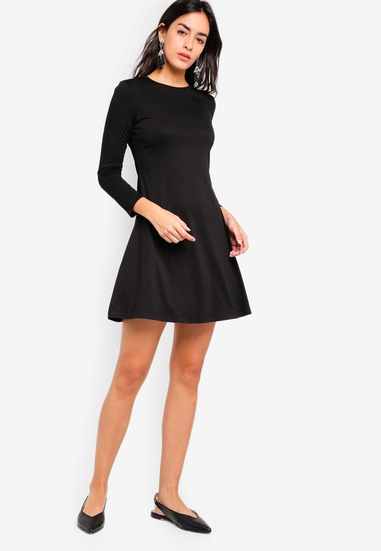 Dress Long Basic Sleeves ZALORA Black Flare UtxwqRfxd
