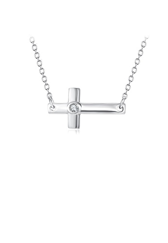 Glamorousky white 925 Sterling Silver Simple Classic Cross Necklace with Cubic Zirconia E6CC8ACBEE0498GS_1