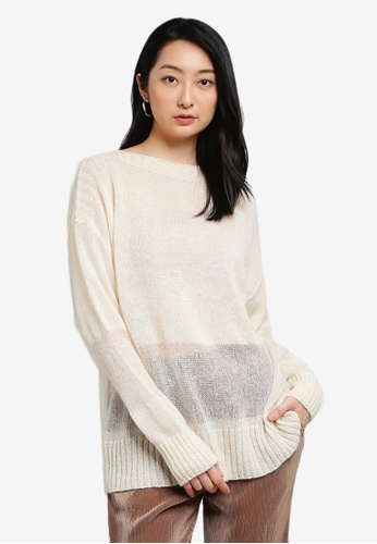 LOWRYS FARM white Sheer Knit Pullover F1C44AA488ABE0GS_1