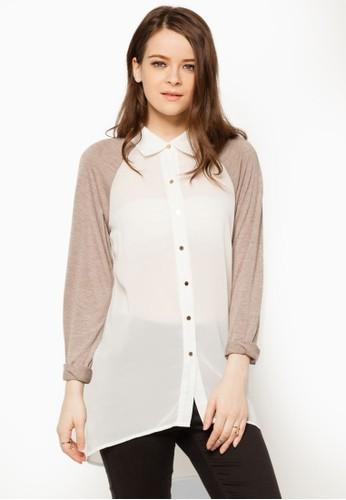 zalora 台灣拼色拉克蘭長袖襯衫, 服飾, 襯衫