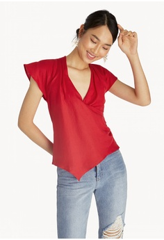30f4a994a9297 Pomelo red Asymmetrical Surplice Top - Red 0D3D1AAB1E053FGS 1