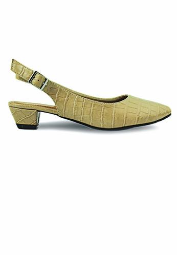 SHINE beige Basic Sling Back Block Heels F71A5SHFE5D1BAGS_1