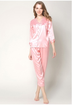b6834eee6d5 SMROCCO pink Silk Long Sleeve Long Pants Pyjamas Set L7019-Pink  6481AAA26DD055GS_1
