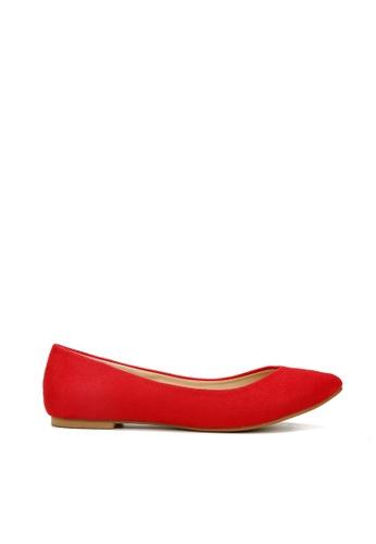 KissXXX 紅色 時尚心機V型淺口舒適平底休閒鞋 KI603SH09MSDTW_1